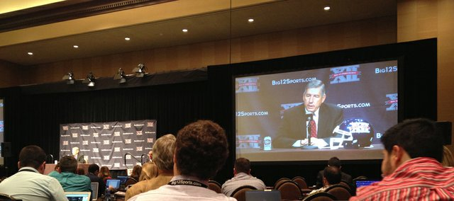 Big 12 commissioner Bob Bowlsby talks to reporters at Big 12 football media days on Monday morning at the Omni Hotel in Dallas.