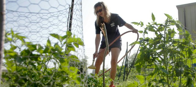 AmeriCorps intern Autumn Rice waters the new garden on the property at Just Food pantry, 1200 E. 11th St.  Rice planted the garden in June and Just Food will distribute the garden's produce to its customers, giving them fresh food options. The garden has already produced onions, lettuce and chard and will soon have tomatoes, peppers, squash and zucchini. Eventually the pantry would like to build a greenhouse for year-round growing of fresh produce.
