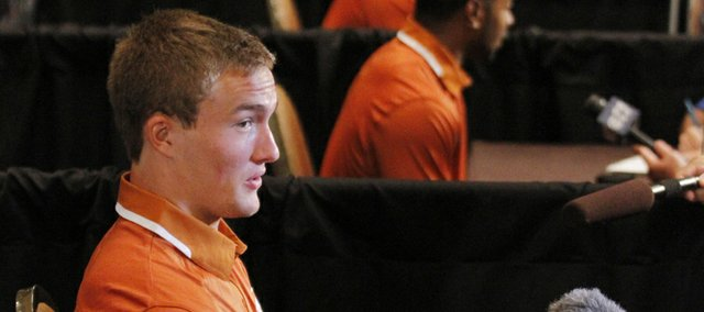 Texas quarterback David Ash talks to members of the media during a breakout session at Big 12 Conference Football Media Days Tuesday, July 23, 2013 in Dallas.