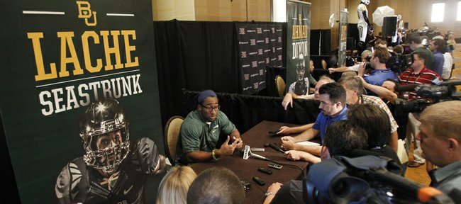 Baylor running back Lache Seastrunk talks to members of the media during a breakout session at the Big 12 Conference football Media Days Monday, July 23, 2013 in Dallas.