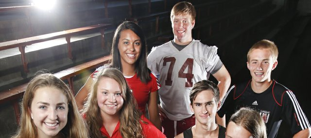 Some of the Lawrence High senior athletes competing for the Lions this fall are, clockwise from front: Allison Williams, gymnastics; Whitney Simons, tennis; Campbell Drake, golf; Caitlin Broadwell, volleyball; Kyle Wittman, football; Connor Henrichs, soccer; Tim Schraad, boys cross country and Laura Neilsen, girls cross country.