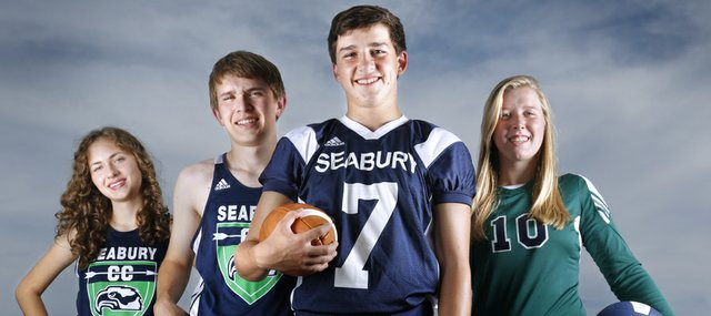 Some of Bishop Seabury Academy fall sports athletes are, from left: senior Kate Albrecht, cross country; senior Kit Rice, cross country; senior Joe Simpson, football; and junior Reilly Malone, volleyball.