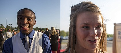 Kansas University track athletes Michael Stigler, left, and Andrea Geubelle were named athletes of the year at the Rock Chalk Choice Awards on Sunday, Sept. 8, 2013, at the Lied Center.