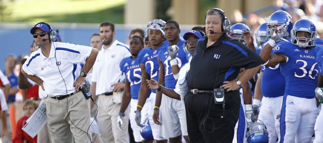 Kansas head coach Charlie Weis and the bench watch a missed field goal attempt by kicker Ron Doherty during the fourth quarter on Saturday, Sept. 8, 2012 at Memorial Stadium.