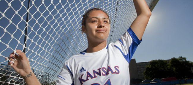 Kansas University sophomore midfielder Liana Salazar completed over 50 credit hours in one calendar year to make herself eligible fo