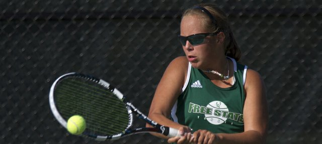 Free State senior Alexis Czapinski hits a backhand during her singles match Wednesday at FSHS.