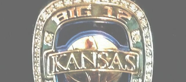 Rings marking Kansas University's 2013 Big 12 basketball championship arrived this week. Coach Bill Self planned to used their distribution to inspire his freshmen. This particular ring — posted on Twitter — belongs to strength coach Andrea Hudy.