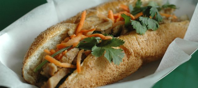 Special Banh Mi (with chicken, pork and meatloaf) at Wild Pho, 1006 Massachusetts St.