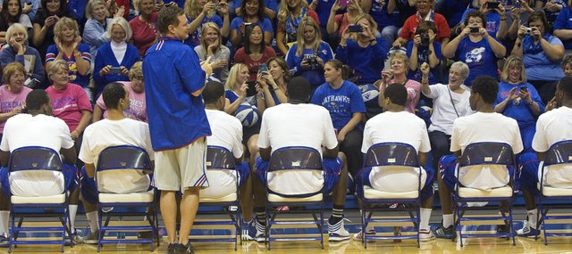 KU coach Bill Self address participants in his Ladies Night Out event on Thursday, Oct. 17, 2013, at Allen Fieldhouse.