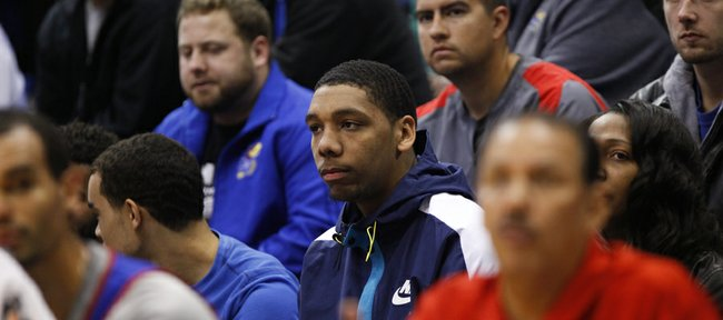 Kansas recruit Jahlil Okafor watches from the stands during an open-practice scrimmage on Saturday, Oct. 19, 2013 at Allen Fieldhouse.
