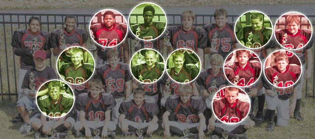 In this photo from 2007, The Lawrence Hurricanes sixth-grade football team poses after winning the NYSSO Kick-Off Classic in Basehor. Several members of 2013 Free State and Lawrence High football teams played for the Hurricanes, including, top row from left: LHS senior Alex Jones (74), FSHS seniors Khadre Lane (5) and Blake Winslow (28) and LHS senior Kyle Wittman (64). Middle row, from left: FSHS seniors Zach Bickling (39), Keith Loneker Jr. (21), Stan Skwarlo (24), and LHS seniors Kieran Severa (44) and Ryan Bellinger (48). Bottom row, from left: FSHS senior Joe Dineen (12) and LHS senior Tucker Sutter (40).