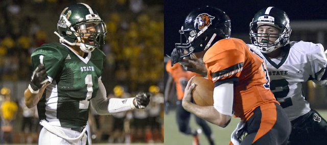 Free State High cornerbacks Bryce Torneden, left, and Joel Spain (2) have come up big in their sophomore and junior seasons, respectively, for the Firebirds, who open the Class 6A playoffs on Friday at home.