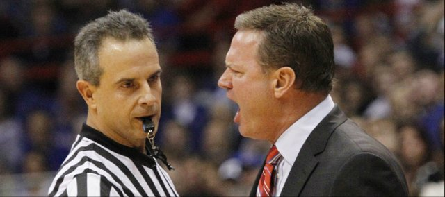 Kansas coach Bill Self yells at a referee during the second half of the Jayhawks' win against Louisiana-Monroe, Friday, November, 8, 2013 at Allen Fieldhouse..