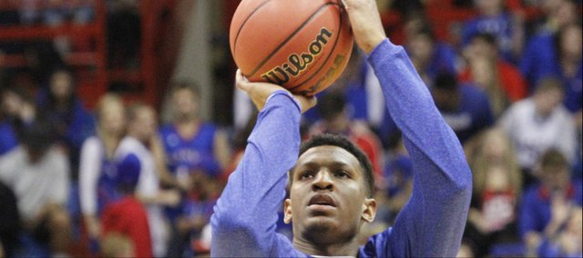 Kansas guard Andrew White III (3) warms up prior to the Jayhawks' regular-season opener against Louisiana Monroe, Friday, November, 8, 2013 at Allen Fieldhouse.