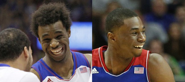 Kansas University guard Andrew Wiggins sought out a big haircut, right, for Tuesday's big game against Duke in Chicago.