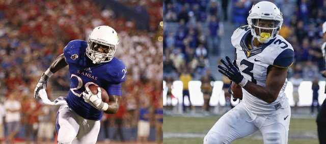 Kansas University's James Sims, left, and West Virginia's Charles Sims have a position (running back), last name and knack for punishing runs in common.