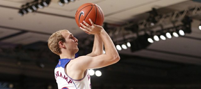 Kansas guard Conner Frankamp pulls up for a shot against UTEP during the first half on Saturday, Nov. 30, 2013 in Paradise Island, Bahamas.