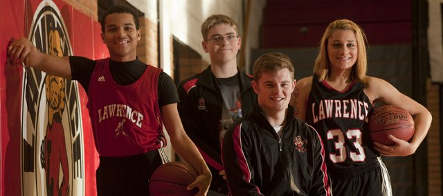 Lawrence High winter sports athletes include, from left, Anthony Riley (boys basketball), Darren Rawlings (swimming), Ryan Bellinger (wrestling) and Kionna Coleman (girls basketball).