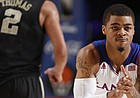 Kansas guard Frank Mason claps his hands as he gets back on defense against Wake Forest after hitting a three-pointer during the second half of the Battle 4 Atlantis opening round on Thursday, Nov. 28, 2013 in Paradise Island, Bahamas.