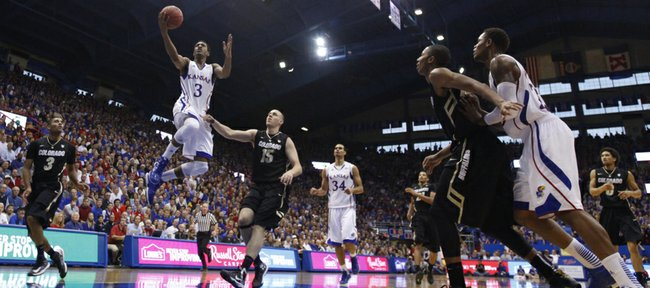 Kansas guard Andrew White swoops in for a bucket against Colorado during the second half on Saturday, Dec. 8, 2012 at Allen Fieldhouse.