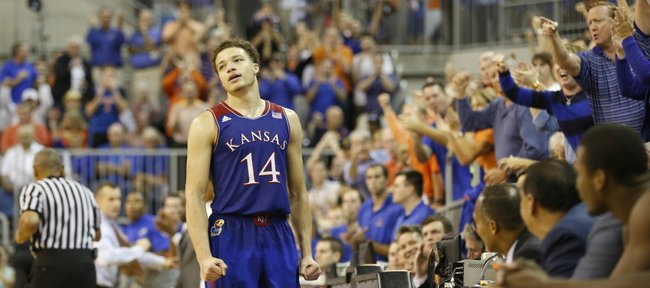 Kansas guard Brannen Greene reacts after losing the ball out-of-bounds late in the game against Florida on Tuesday, Dec. 10, 2013 at O'Connell Center in Gainesville, Florida.