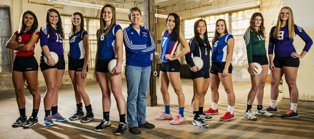The 2013 Journal-World All-Area volleyball team, from left: Caitlin Broadwell, Lawrence; Alexia Stein, Baldwin; Jaeden Romine, Santa Fe Trail; player of the year Shelby Dahl, Santa Fe Trail; coach of the year Joy Schmidt, Santa Fe Trail; Ashley Sparks, Wellsville; Hannah Billings, Mill Valley; Megan Zaldivar, Santa Fe Trail; Grace Miller, Free State; Jordan Hoffman, Baldwin. Not pictured: Molly Oshinski, Mill Valley.
