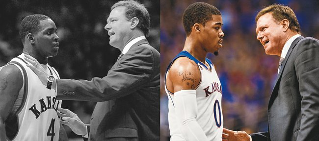 In his time at Kansas, Bill Self has coached up several talented but inconsistent freshman point guards, including Sherron Collins, left, in 2006-07, and Frank Mason, right, this season.