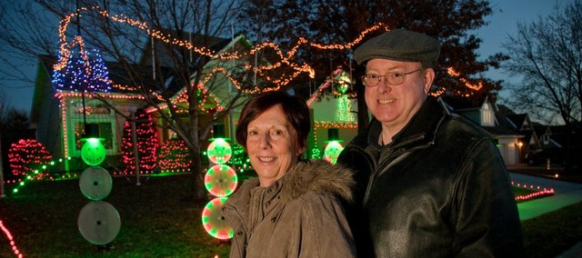 Mary Ann and Gary Martin, who live at 1132 Parkside Circle, have an LED Christmas light display that lasts about 18 minutes and is accompanied by music on 96.9 FM.