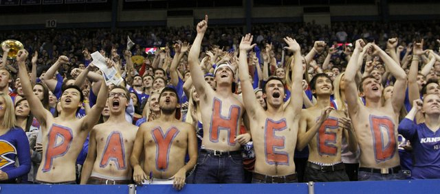 The KU fans celebrate during the Jayhawks regular season opening win against Louisiana-Monroe, Friday, November, 8, 2013 at Allen Fieldhouse.