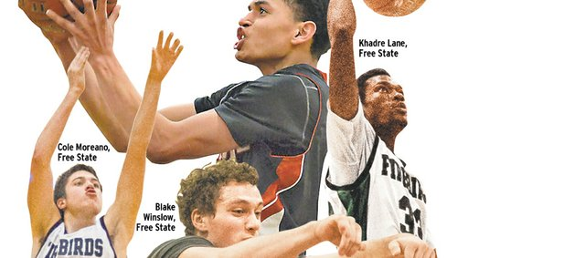 Thanks to players like, clockwise from top, Anthony Bonner, LHS; Khadre Lane, Free State; Justin Roberts, LHS; Cole Moreano, FSHS; and Blake Winslow, center, this year's City Showdowns have the potential to be even more high-level than most.