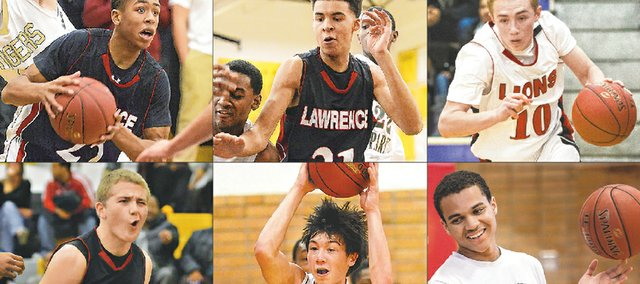 Lawrence High boys basketball's role players, from left, top row: junior John Barbee, sophomore Fred Brou and senior Connor Henrichs. Bottom row: sophomore Price Morgan, junior Ben Rajewski and senior Anthony Riley.