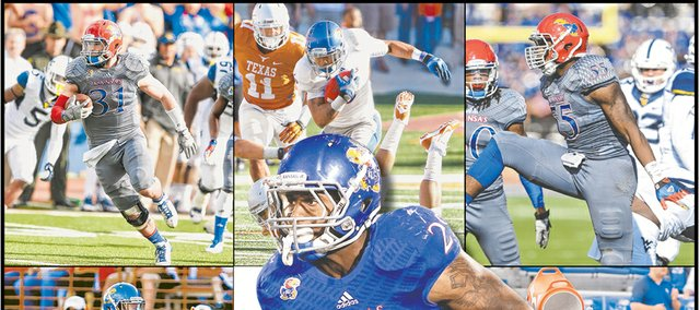 Some of Kansas University football beat writer Matt Tait's end-of-year award-winners include, clockwise from top left, defensive MVP Ben Heeney; offensive rookie Darrian Miller; most improved Michael Reynolds; coach Charlie Weis getting doused after game of the year (KU 31, West Virginia 19); Jayhawks glum after late in the bummer of the year (Rice 23, Kansas 14); assistant John Reagan's return as feel-good moment; Matthew Wyman (28) celebrating special-teams play of the year with Weis; Isaiah Johnson, defensive rookie; and, at center, offensive MVP (and more) James Sims.