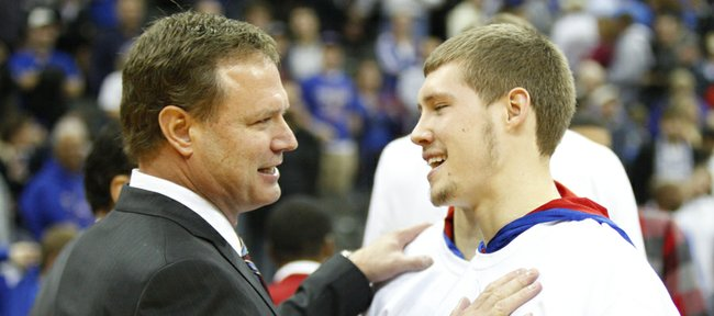 Kansas head coach Bill Self jokes with his son Tyler after the win over Saint Louis in the CBE Classic, Tuesday, Nov. 20, 2012 at the Sprint Center in Kansas City, Missouri.