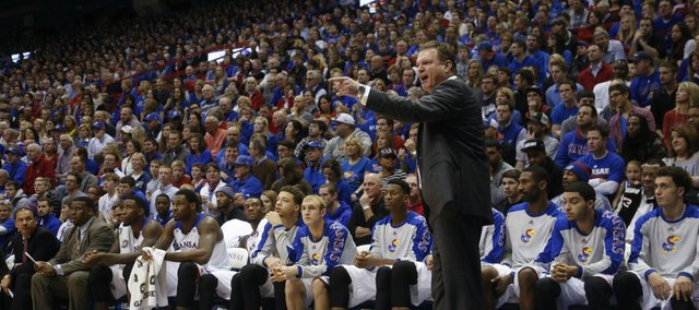 Kansas head coach Bill Self gets at an official during the second half on Monday, Dec. 30, 2013 at Allen Fieldhouse.