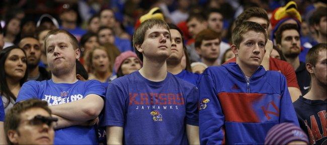 A row of unhappy faces fill the student section as San Diego State grabs the victory on Sunday, Jan. 5, 2013 at Allen Fieldhouse.