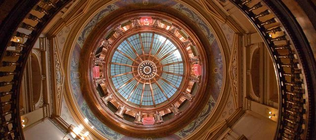 Inside the Kansas Statehouse looking up one can view the dome restoration.
