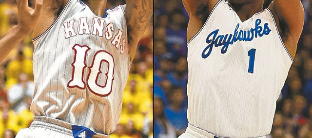 Alternate Kansas University men's basketball uniforms, worn Monday at Iowa State, left, and Saturday against Kansas State, right, may be here to stay, KU coach Bill Self said on his radio show Tuesday.