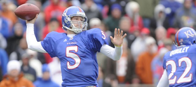 Kansas University quarterback Todd Reesing throws against Texas in this Nov. 15 file photo at Memorial Stadium.