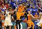 Oklahoma State forward Le'Bryan Nash loses the ball before Kansas defenders Frank Mason (0) and Wayne Selden on the final possession as time expires during the second half on Saturday, Jan. 18, 2014 at Allen Fieldhouse.
