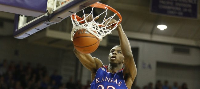 Kansas guard Andrew Wiggins delivers on a lob dunk against TCU during the first half on Saturday, Jan. 25, 2014 at Daniel-Meyer Coliseum in Fort Worth, Texas.