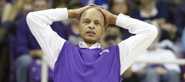 TCU head coach Trent Johnson watches in the final minutes against the Jayhawks on Saturday, Jan. 25, 2014 at Daniel-Meyer Coliseum in Fort Worth, Texas.