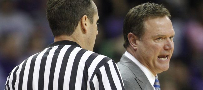 Kansas head coach Bill Self gets at a game official over a call during the second half on Saturday, Jan. 25, 2014 at Daniel-Meyer Coliseum in Fort Worth, Texas.