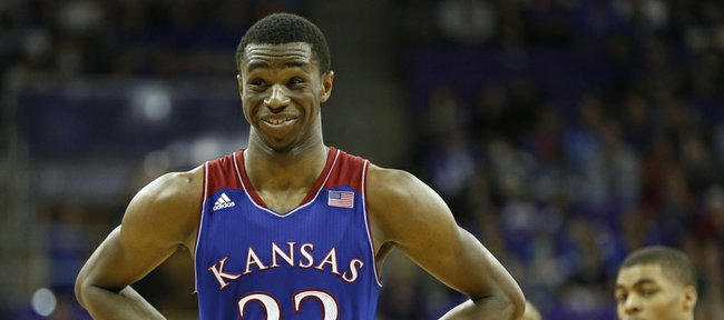 Kansas guard Andrew Wiggins smiles while joking with a game official before a pair of free throws against TCU during the second half on Saturday, Jan. 25, 2014 at Daniel-Meyer Coliseum in Fort Worth, Texas.