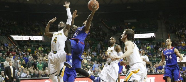 Naadir Tharpe drives the lane to the basket for two first-half points in a KU win over the Baylor Bears, 69-52, Tuesday, Feb. 4, 2014 at Ferrell Center in Waco, Texas. Tharpe led the team with 22 points.