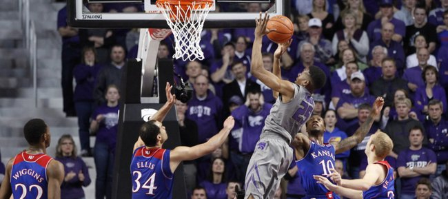 Kansas State forward Wesley Iwundu gets an overtime bucket to widen the Wildcats' overtime lead on Monday, Feb. 10, 2014 at Bramlage Coliseum.