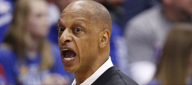 TCU head coach Trent Johnson lays into an official during the first half on Saturday, Feb. 15, 2014 at Allen Fieldhouse.
