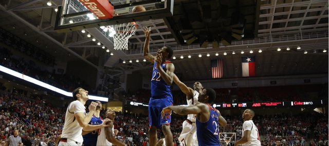 With three seconds left, Kansas guard Andrew Wiggins puts the winning bucket off the glass to defeat Texas Tech 64-63 on Tuesday, Feb. 18, 2014 at United Spirit Arena in Lubbock, Texas.