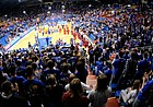 Kansas fans come to their feet in the north end zone of Allen Fieldhouse as the Jayhawks leave the court following warmups in preparation for tipoff against Alcorn State on Dec. 2, 2009.