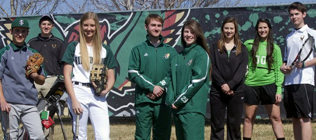 Some of the athletes competing this spring for Free State High include, from left, Ryan Cantrell (baseball), Hunter Dedloff (golf), Meredith Morris (softball), Joshua Milota and Brogan Scott (track), Kate McCurdy (swimming), Annie Hierl (soccer) and Stephen Anderson (tennis).
