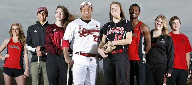 From left are Lawrence High senior spring sports athletes; Katie Lomshek, track and field, Narito Mendez, golf, Alex Ewy, soccer, Drew Green, baseball, Andrea Mills, softball, Erik Parrish, track and field, Andrea Summey, swimming, and Thomas Irick, tennis. Nick Krug/Journal-World Photo